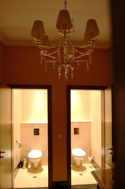 chandelier in lady's bathroom eclectic-bathroom