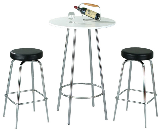 White Melamine And Chrome Pub Table With Two Black And