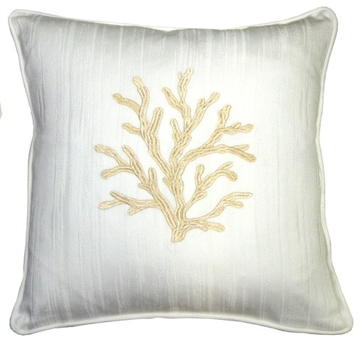 Pillow Decor - Sea Coral in White and Champagne 17 x 17 Throw Pillow beach-style-decorative-pillows
