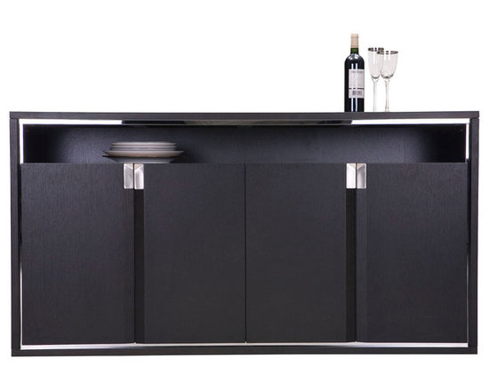 MARS - The Mars Cabinet (WHW-5018) has a mirrored stainless steel frame which echoes the Eudora table details. The inset top shelf of black glass gives another dimension of play on texture with in this stunning side board. There is functionally configured compartments Inside the Mars dining cabinet. Stainless steel hardware features the bevel design while a band of stainless steel frames the cabinet. The Mars dining cabinet with its modern dexterity creates a cohesive look and unifying atmosphere.