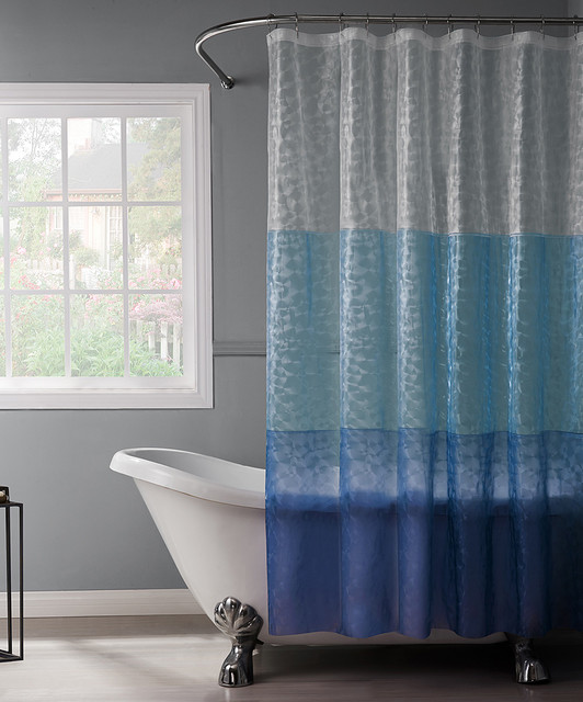 Blue Navy Reflection 3 D Shower Curtain Contemporary Shower Curtains