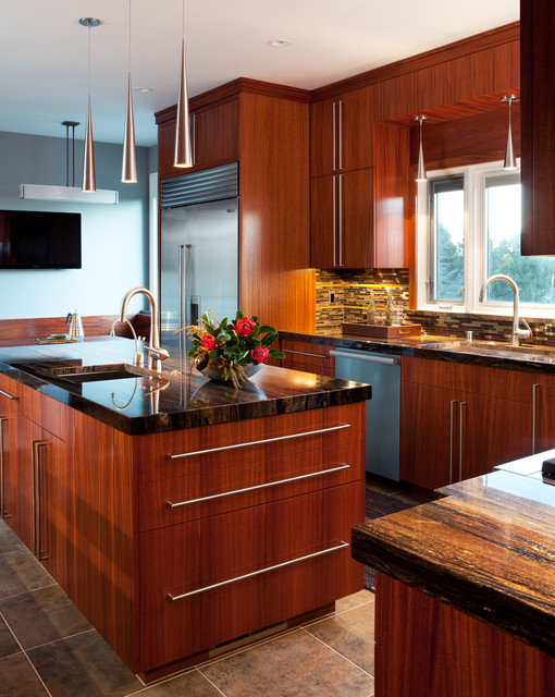 African Mahogany Kitchen - Contemporary - Kitchen - san ...