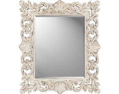 Paragon Rectangle Cream Shells Mirror beach-style-wall-mirrors