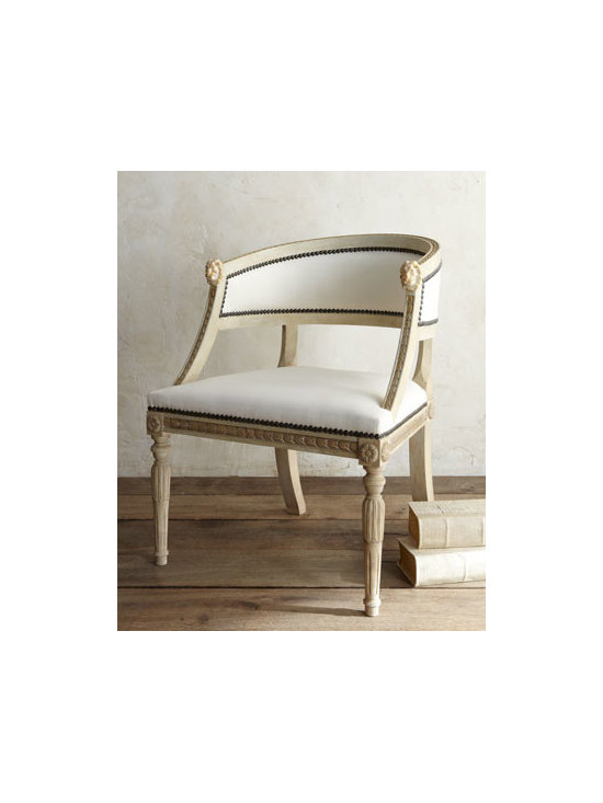 """Tara Shaw - Tara Shaw """"Swedish"""" Bergere Armchair - A reproduction of a European original, this elegant curved-back armchair features an intricately carved frame outlined in nailhead trim. Ornate lions' heads adorn the top of each arm. From Tara Shaw. Hand carved of birch with a hand-painted finish. Po..."""