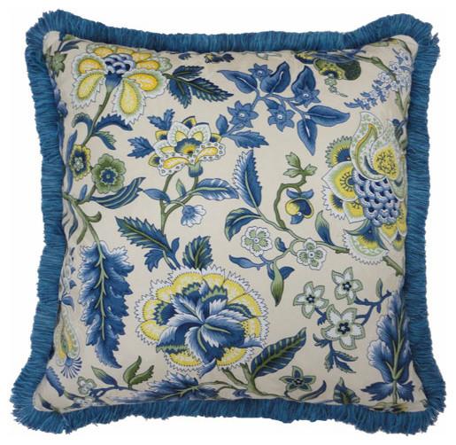 Imperial Dress Porcelain 18-Inch Decorative Pillow w/ Fringe modern-decorative-pillows