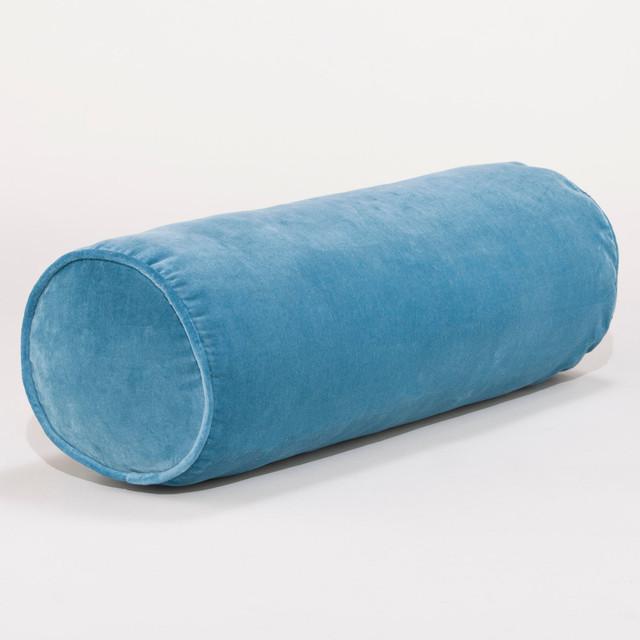 Adriatic Blue Velvet Bolster Pillow Contemporary