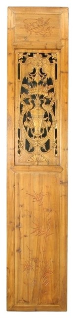 Consigned Antique Chinese Door Carved Flowers Bamboo asian-interior-doors