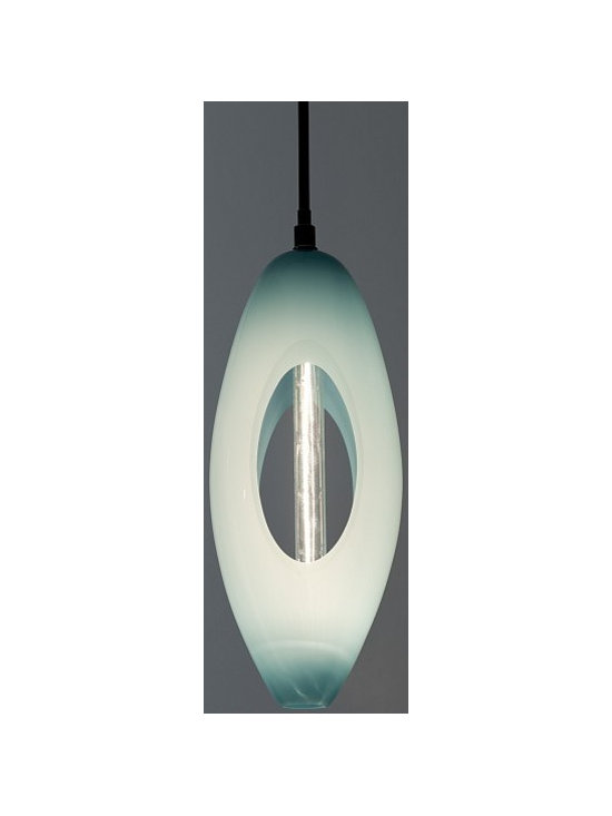Open Tall Pendant by Jamie Harris - The carved-out aperture of these glass pendants allow light to spill through the piece.