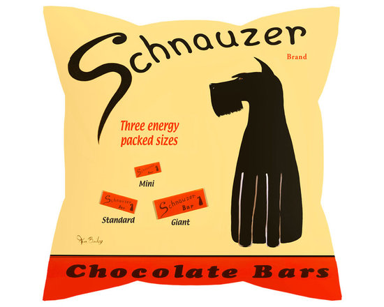 """Schnauzer Chocolate Bar Pillow - Schnauzer Chocolate....... 18"""" x 18"""" pillow with concealed zipper and feather & down (95/5) insert. 100% Eco friendly material printed with non toxic, non fading dyes. Front 100% polyester from recycled plastic bottles. Back 65% polyester from recycled plastic bottles; 35% organic cotton. Artwork by Ken Bailey and made in an American textile mill."""