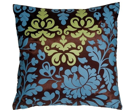 Pillow Decor - Pillow Decor - Bohemian Damask Brown, Blue and Olive Throw Pillow - Bring a splash of playful color into your bedroom, living room or sun room. This beautiful print has a chocolate brown base with a misty blue and olive green botanical design. The back of the pillow is a solid shimmering brown. This contemporary pillow is bold and fresh, and is a great highlight in any room.