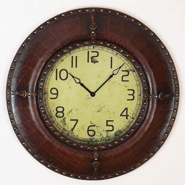 Round Western Leather Wall Clock Traditional Wall