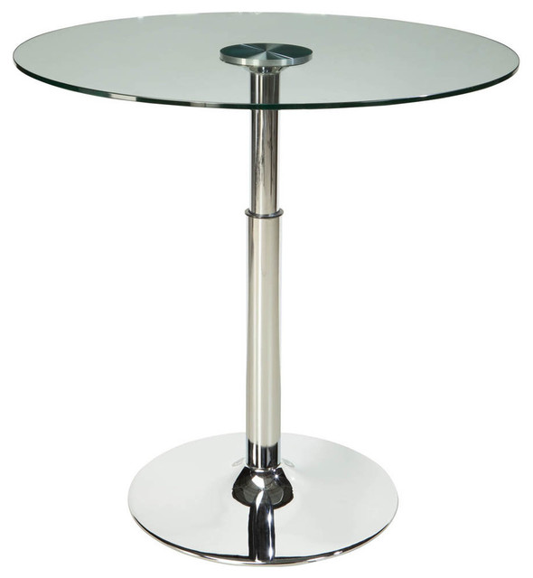 Standard Furniture Cosmo Round Glass Top Dining Table With
