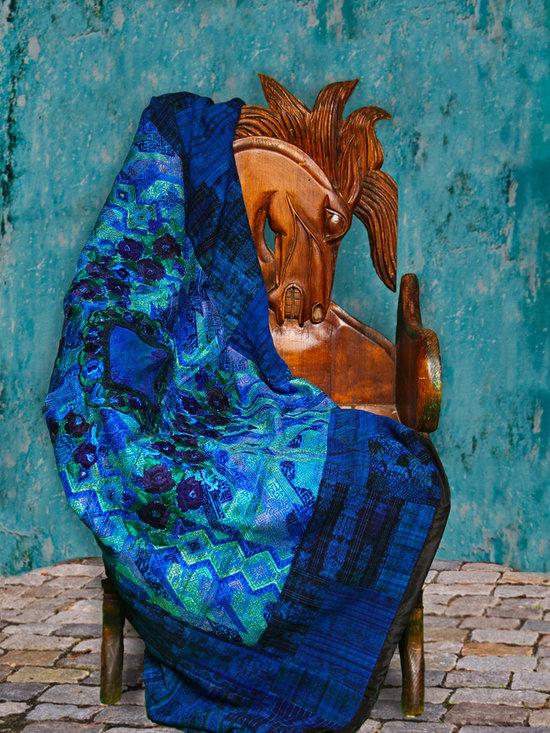 Handmade, Fair Trade Guatemalan Textiles - Fair Trade, Handmade Vivid Blue Guatemalan Throw Blanket. Fair Trade Quilts & Crafts