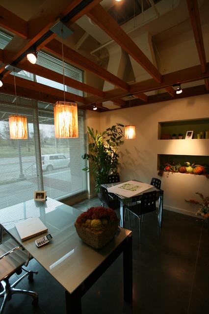 Office Space W Dropped Cedar Trellis Ceiling Omaha By
