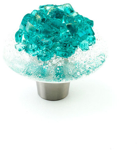 """Jewel Glass Knobs and Pulls, Turquoise, 1.5"""" Circle transitional-knobs"""