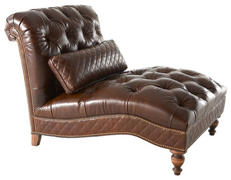 Old Hickory Tannery Mocha Leather Chaise traditional-indoor-chaise-lounge-chairs