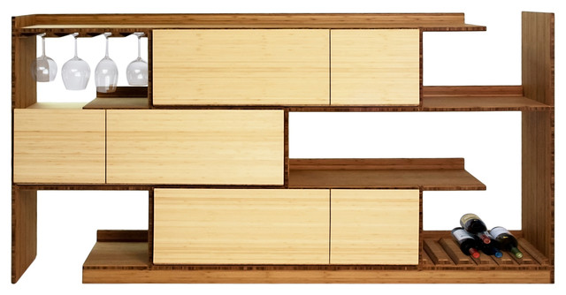 Bamboo Stagger Server, Server with Wine Bottle and Glass Rack and 3 Cabinets modern-buffets-and-sideboards