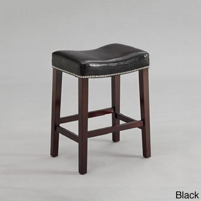 Black or Red Leather Nailhead Saddle Counter Height Bar  : contemporary bar stools and counter stools from www.houzz.com size 640 x 640 jpeg 43kB