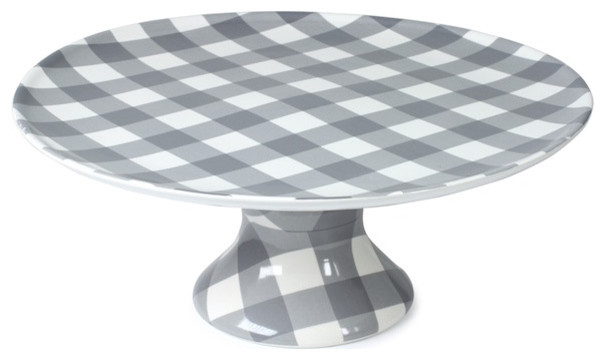 Grey Check Cake Stand, Large farmhouse-dessert-and-cake-stands