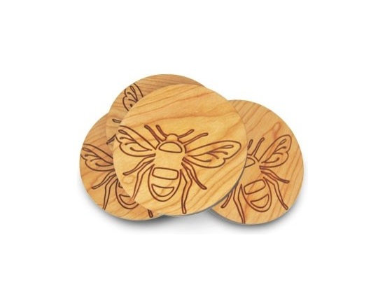 Beehive Bee Coaster Set - The set of four Bee Coaster's by Beehive are made from Cherry wood and engraved with a fun bee motif.