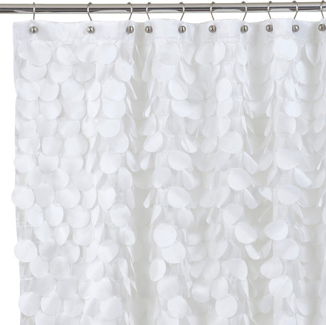 Gigi Fabric Shower Curtain, White - Contemporary - Shower ...