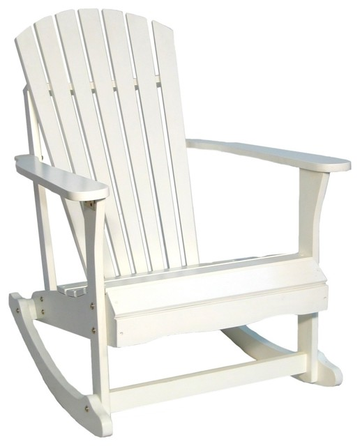 Coastal Adirondack White Finish Solid Wood Porch Rocker Chair Traditional
