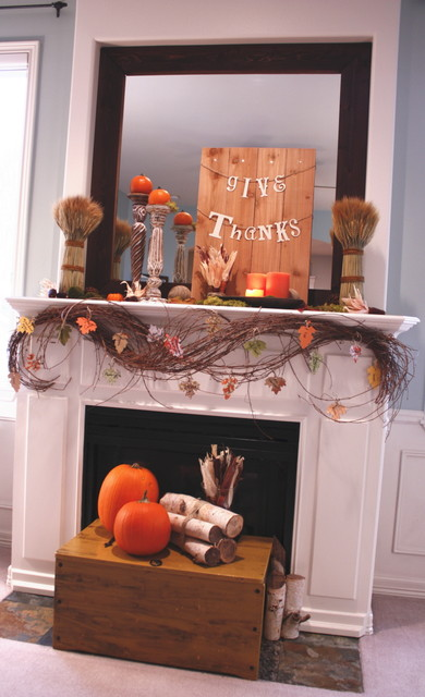 Thanksgiving Mantel - 2010 contemporary living room