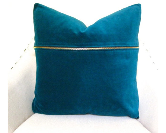 Therese Marie Designs - Teal Velvet Pillow with Brass Zipper - Teal velvet pillow cover. Adding a brass zipper to this solid velvet cover adds interest as well as a trendy detail. Coordinate with the current move toward brass in today's interiors. *For 20-inch insert*