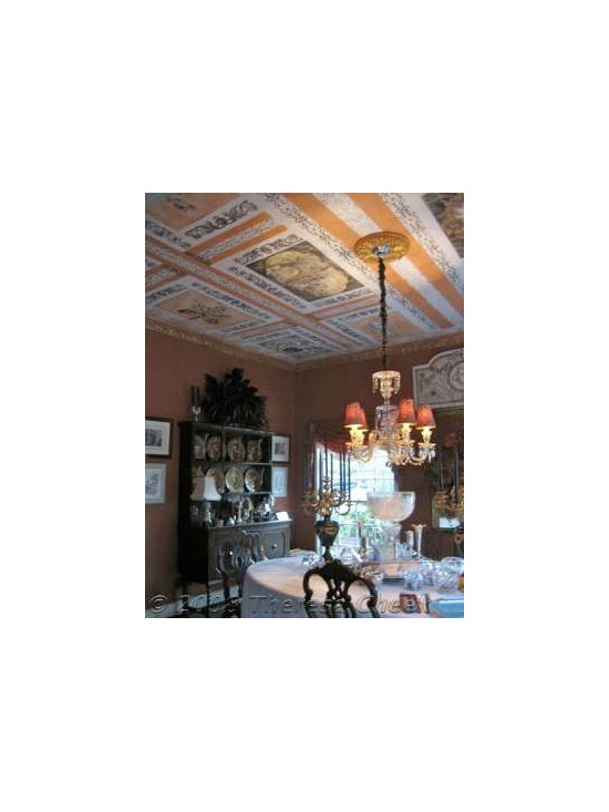 Italianate mural ceiling - Trips taken by the clients were interpreted and woven into a Dining Room ceiling mural. Done on canvas, the twelve panels were installed into a grid of stenciled borders. Private residence- art by Theresa Cheek