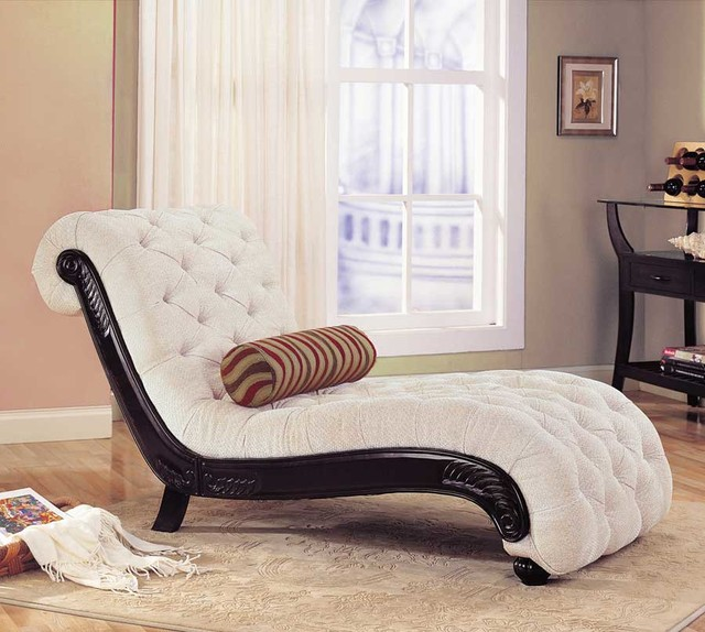 Beige Traditional Chaise traditional-indoor-chaise-lounge-chairs