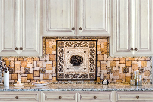 Kitchen backsplash mosaic and metal accent mural contemporary-tile