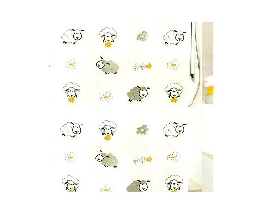 Sheep Children's Fabric Shower Curtain from Vita Futura - Our Duck fabric shower curtain is a great choice for bath time. White, medium grey and light grey playful sheep are have a fantastic time in the snowy white meadow /background, taking time to smell the yellow-orange, white and grey flowers. All of the fabric shower curtains we offer feature heavy-duty plastic grommets / eyelets and have a weighted hem to assist in keeping the shower curtain in place while in use. Much like the shower curtains you find in many luxury hotels and spas, this shower curtain does not require the use of a shower curtain liner. Made of quick-dry and easy-care fabric. As with all of our products, our Sheep shower curtain is designed and produced in Germany.