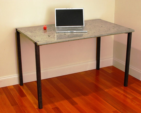 """Concrete & Steel Desk - Glass Fiber Reinforced Concrete, Natural Grey with dark grey variegated finish, Square Steel legs,  Top: 48""""W x 29.5""""D x 30""""H"""