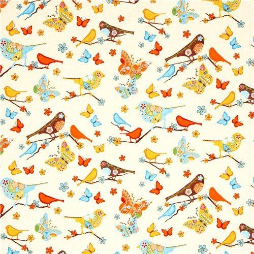 Beige Fabric Bird Flower Butterfly Robert Kaufman Fabric