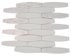 Isle Satin Snow Glass and Marble Tile tile