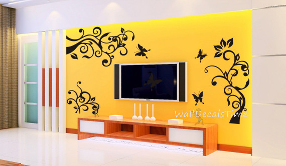 Wall Decals Flower Wall Art Removable Vinyl Decal Wall Decor Wall ...