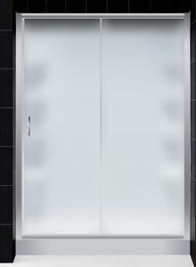 """Infinity Frosted Glass Shower Door, Amazon Right Drain Base 30""""D x 60""""W & BackWa modern-showerheads-and-body-sprays"""