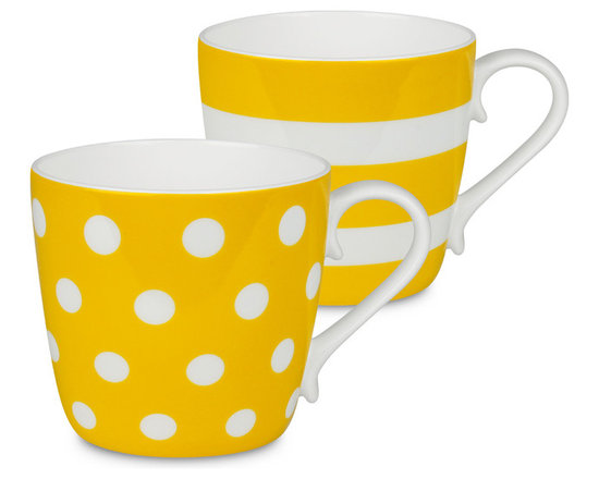 Konitz - Colors Mugs, Sun Dots and Stripes, Set of 2 - If you're two for tea — or coffee, of course — serve it up in these bone china beauties. The pair of mugs is delicately curved and simply patterned for the ultimate in everyday luxury.