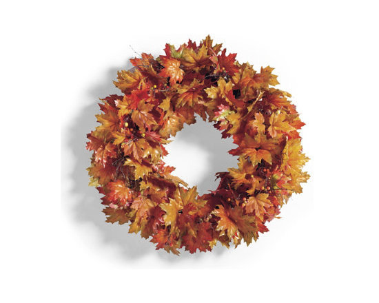 """Grandin Road - New England Brown Leaves Wreath - Faux foliage urn filler, swag, wreath, and garland in fall colors. All pieces are built on a grapevine base. Urn filler has a 5"""" opening for displaying bundles of tall twigs, wheat grass or pumpkins (not included). For covered outdoor or indoor display. Our New England Maple Leaf Urn Filler, Swag, Wreath, and Garland look as real as if you had gathered the leaves yourself, yet these lush pieces will last for seasons to come. A rich melange of variegated maple leaves is punctuated with lifelike berries and natural twigs. Plus, there's a shape to fit nearly any area of your home.  .  .  .  ."""
