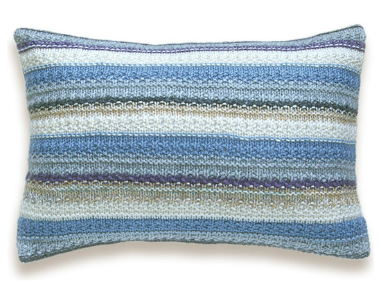 Knit Melange Pillow Cover In Beige Cream Gray Graphite Pastel Blue Lilac 12 x 18 -
