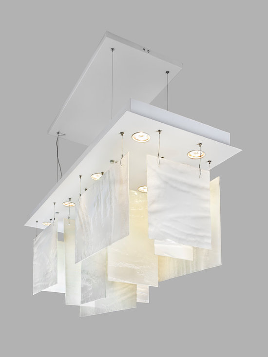 Fused glass ceiling pendant - The beautiful fused glass pieces in pure white, with the artisan texture and waves on each piece of glass, make this contemporary chandelier simply breathtaking.