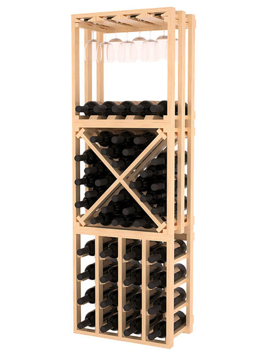 Lattice Stacking Cube - 3 Piece Set in Pine with Satin Finish - Designed to stack one on top of the other for space-saving wine storage our stacking cubes are ideal for an expanding collection. This 3-piece set comes with (1) X-Cube, (1) Stemware Cube and (1) 4 Column Cubicle. Use as a stand alone rack in your kitchen or living space or pair with more stacking cubes as your wine collection grows.