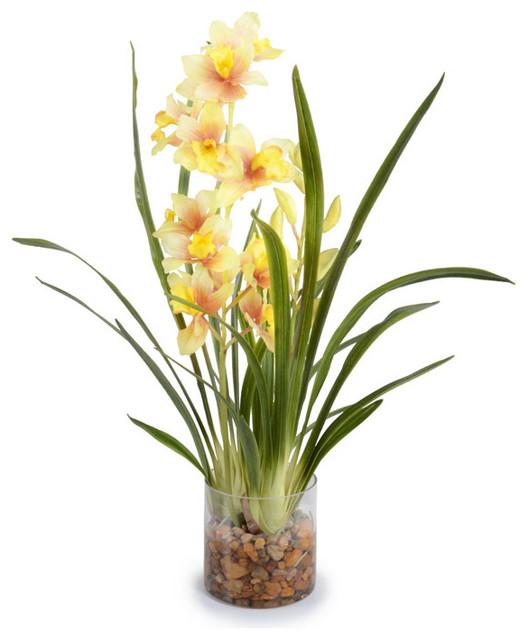 Faux Cymbidium Arrangement Traditional Artificial Flower Arrangements By New Growth Designs