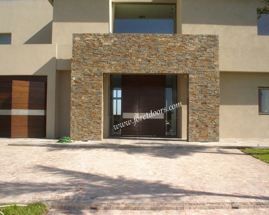 Modern front entry doors / contemporary front entry doors - Solid wood contemporary entry door with stainless steel stripe and sidelights