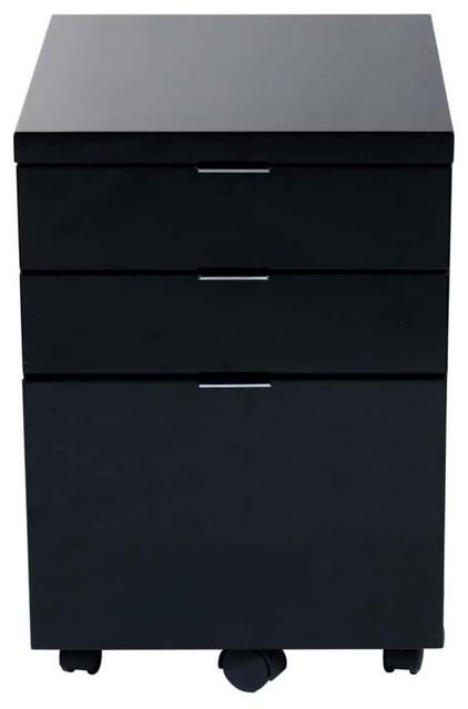showroom black lacquer file cabinet.