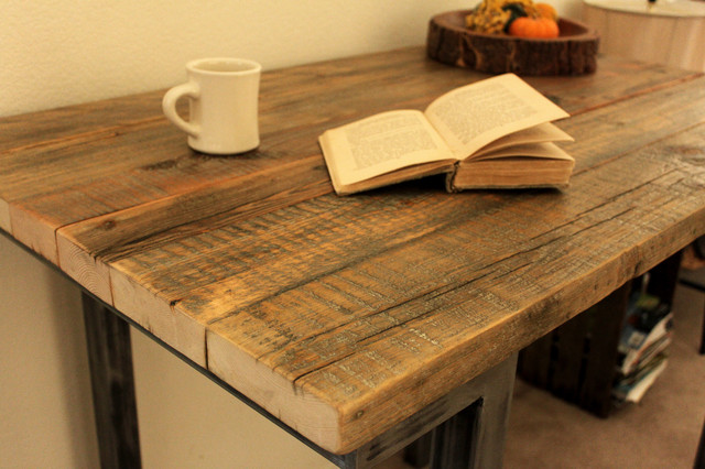 Reclaimed Wood Bar Pub Table Modern Indoor And