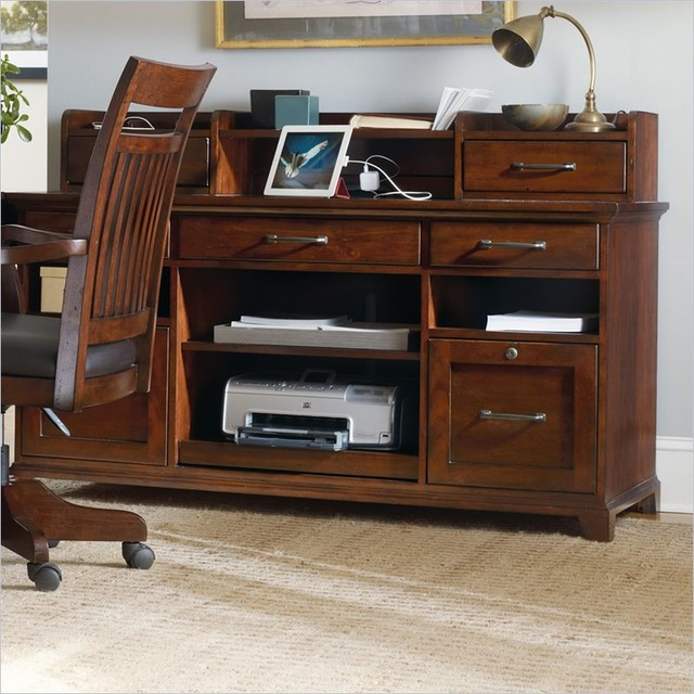 Wendover Computer Credenza and Hutch, Cherry - Transitional - Office Carts And Stands - by Cymax
