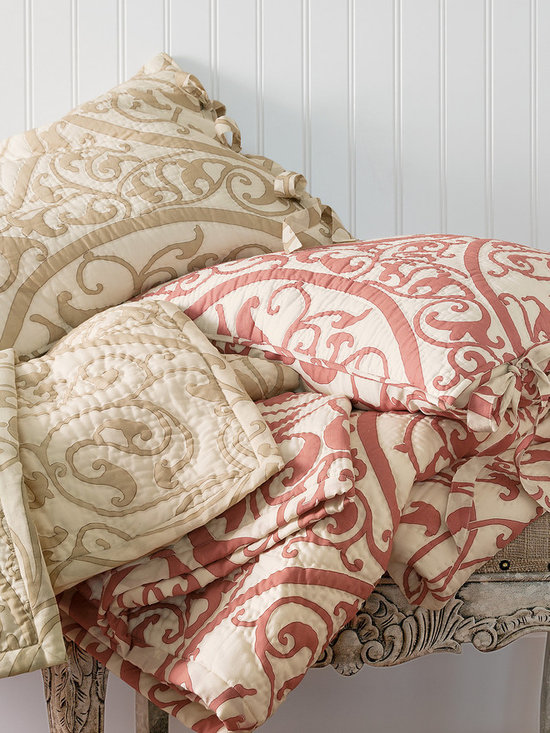 Emmeline Bed Sham - Flowing scrolls and fluid curves recall the intricate motif found on an antique ironwork gate. Beautifully reinterpreted for the bed in soft neutrals on ivory, this gorgeously understated pattern is versatile enough to work in both relaxed and more formal settings.