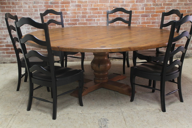 Large 84 rustic round table rustic dining tables for Large black dining room table