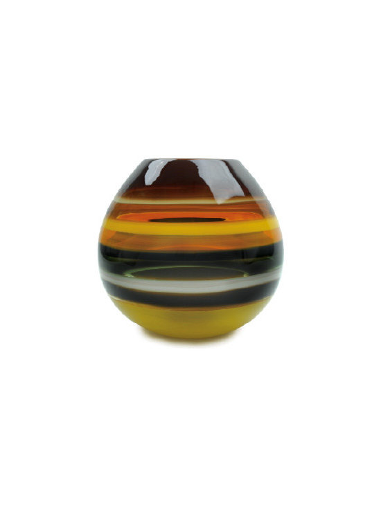 Caleb Siemon Mustard Banded Barrel Vase - Inspired by the rich hues and topography of Southern California, alternating layers of opaque and transparent colors are applied to clear glass. New colors are formed by overlaps, adding depth to the pieces. Simple shapes compliment intense colors. Hand blown and shaped in lead free crystal. Designed by Caleb Siemon. Made in California. Signed.